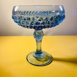 Vintage Blue Glass Diamond Compote Indiana Glass